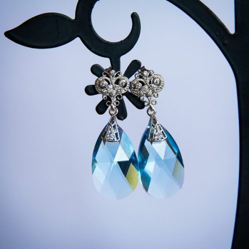 Blue Lake earrings with Swarovski crystals