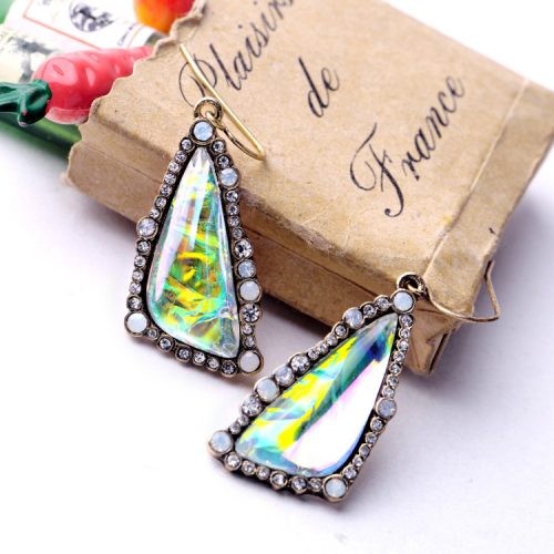 Exquisite Shiny Gradient Color Triangle Dangle Earrings