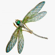 Delicate dragonfly Comb for hair - diamonds, emeralds, citrine, enamel. 1904