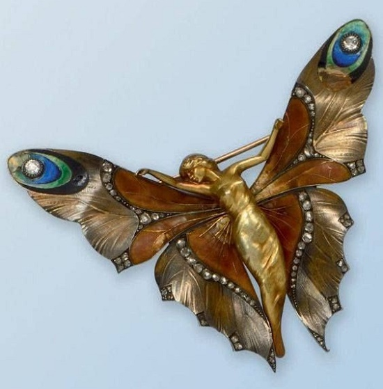 Lucien Gaillard brooch. Gold, enamel, diamonds