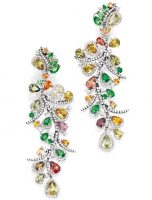 Pair of 18 Karat White Gold, Colored Stone and Diamond Pendant-Earclips, Michael Youssoufian
