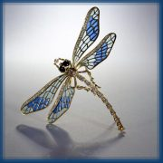 Blue dragonfly. Gold, diamonds, emerald