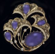 Firebird. Brooch. Gold, diamonds, tanzanite