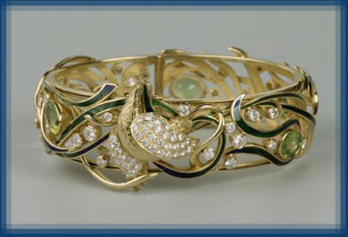 Peacock bracelet. Gold, diamonds, enamel, peridots