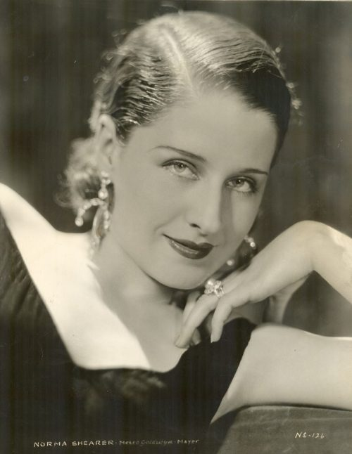 Exquisite jewellery set of pearl earrings and a ring. Hollywood star Norma Shearer