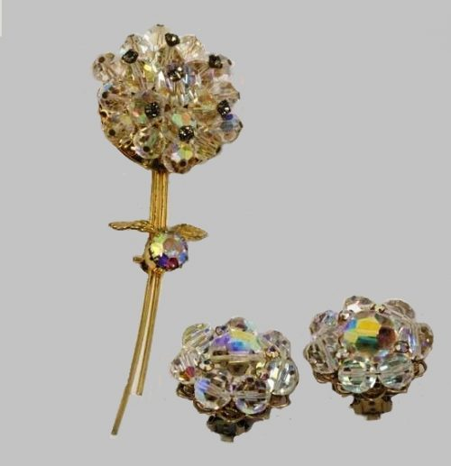 Exquisite set of brooch-pin and clips