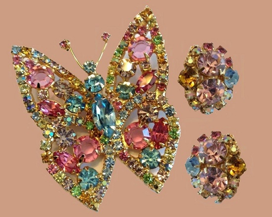 Fruit salad rhinestone butterfly brooch and earrings