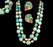 Turquoise and Aqua Bead Faux Pearl Necklace, Bracelet and Earrings