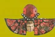 Brooch in the form of an Egyptian scarab. Red and opaque red mirror glass, rhinestone, enamel. End of the 1970s, 9 cm £ 250-300