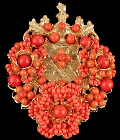 Coat of arms coral brooch