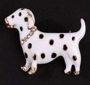 Dalmatian cute puppy. Brooch, enamel