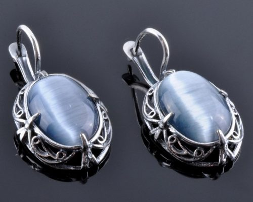 Earrings with Chatoyancy