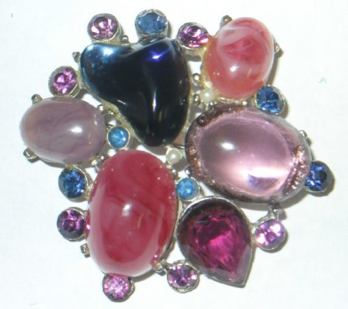 Stunning purple, blue and pink glass brooch imitating amethyst, rhinestones and pearls