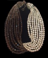 Pearl Smoky Brown Murano Glass Bypass Necklace. 1960s