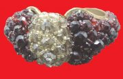Ruby Red and Smoky Gray Crystal Beaded Cuff Bracelet