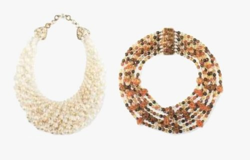 Two necklaces - artificial pearls, clear glass and colored Bohemian glass. 1950s