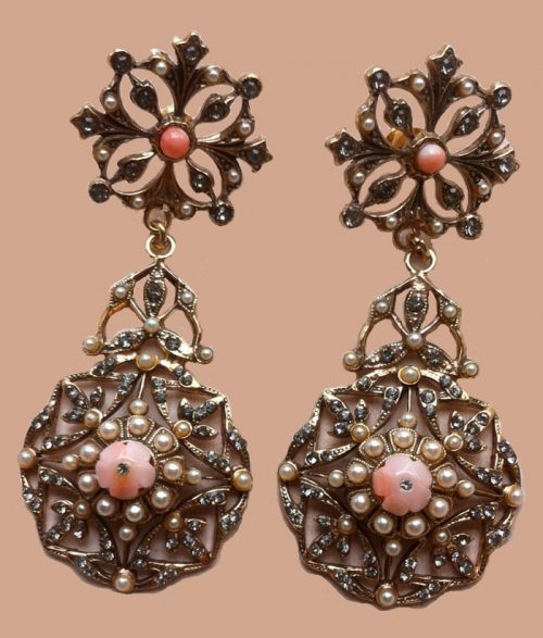 Large earrings, antique metal, artificial pears and crystals