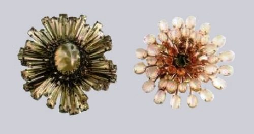 A pair of brooches. Left - crystals of pale yellow color, glass. 7,5 cm. Right - artificial moonstone, rock crystal. 7 see the 1950's