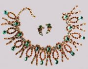 Classic necklace and earrings Metal, gilding, rhinestone color aquamarine, gilding, aurora borealis. 1950's. diameter 44.5 cm, £ 700-800