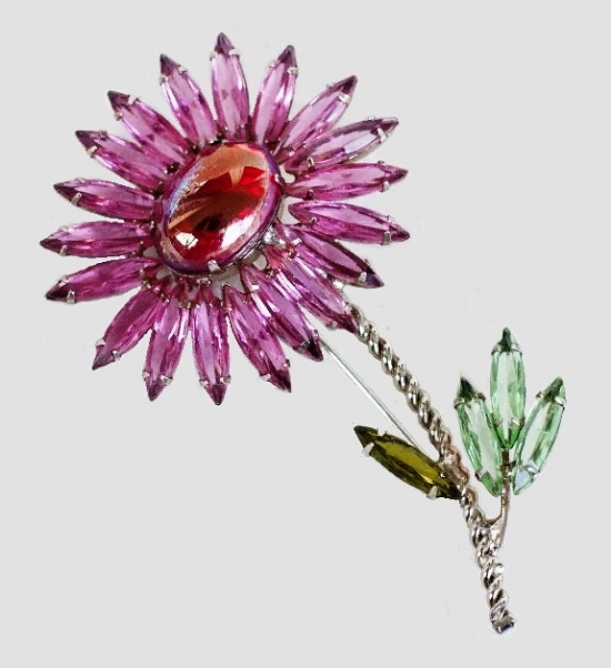 Gently pink flower brooch 8 cm, metal of silver tone, flower core pink cabochon. Henry Schreiner vintage costume jewelry