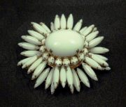 Milk glass and rhinestones flower brooch