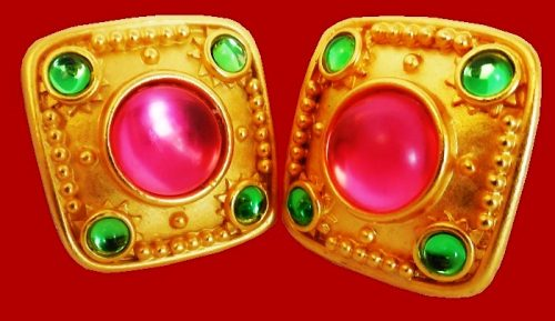 Modernist Earrings, pink and green glass inserts