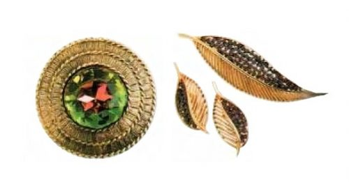 Round brooch, antique gold-plated metal with corrugation, glass. 1950's. width 5.75 cm. £ 40-50. Brooch and earrings. 1970s. £ 35-40