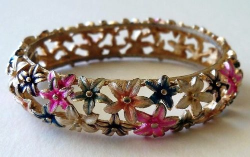 Spring Flowers Hinged Bangle Bracelet