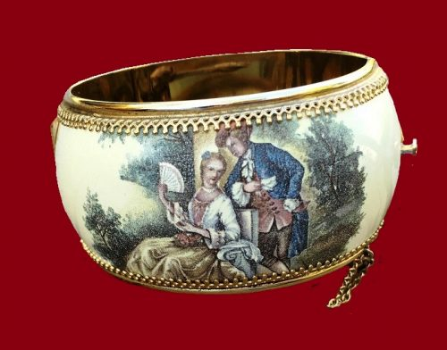 1950s Victorian style wide enameled hinged bangle with hand painted romantic print