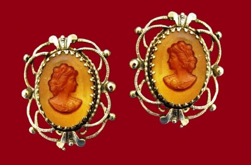 Antique look molded glass cameo earrings, 1960s Vintage