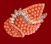 Coral Brooch with large natural coral cabochons 6 x 4 cm