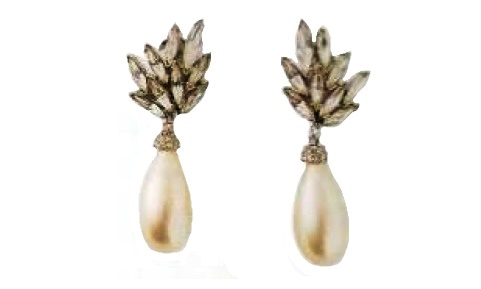 Earrings, white metal, rhinestone, Japanese artificial pearls. The middle of the 1970s. 6.25 cm £ 115