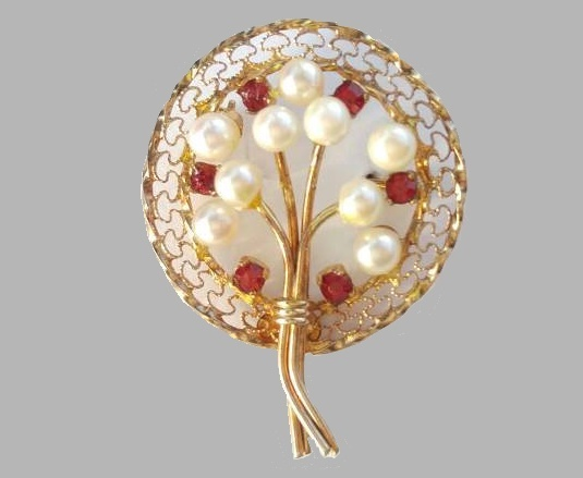 Faux pearl, ruby tree wreath pin
