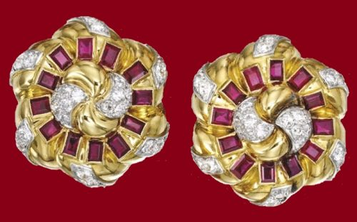 18 Karat Gold, Platinum, Diamond and Ruby 'Noeud' Earclips