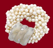 Gorgeous chalcedony, cultured pearl and diamond bracelet, 1935