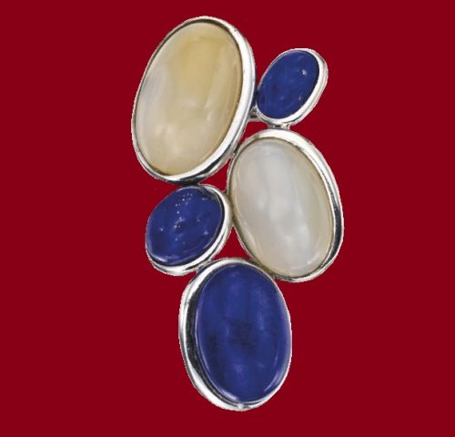 White Gold, Lapis Lazuli and Chalcedony 'Cluster' Brooch, designed