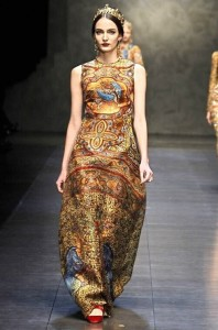 Dolce and Gabbana famous fashion show remembered for stunning jewellery. Wearing crown and jewellery Zuzanna Bijoch
