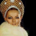 Jewellery lover Virna Lisi in traditional Russian kokoshnik decorated with brooches