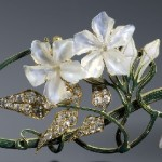 Art Nouveau Gold, Platinum, Plique-a-Jour Enamel, Diamond and Pearl