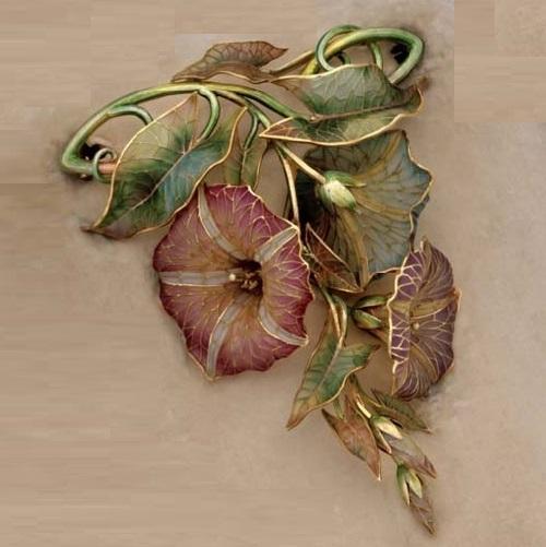 Petunia brooch, enamelling technique Plique-a-jour
