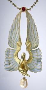 Jewellery made in vitreous enamelling technique Plique-a-jour