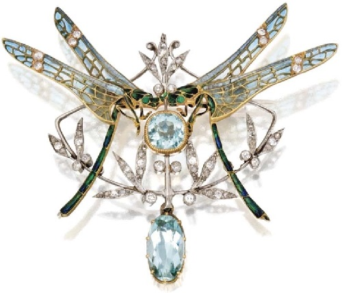 Gold, platinum, aquamarine and diamond dragonfly pendant brooch, France, circa 1900
