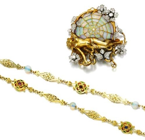 Gem set and diamond brooch/pendant by Henrie-Auguste Solié, circa 1900. Plique-a-jour Jewellery