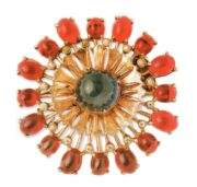 Red cabochons brooch. Gold plated silver, rhinestone, dark blue glass. 1940s 5.75 cm £ 95-105 MG