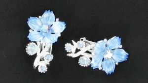 Light Sapphire Blue and AB Rhinestone and Lucite Flower Earrings