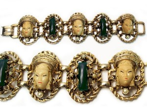 1950s Selro Selini Asian Princess Panel Bracelet Gold, Ivory & Green Art Glass White Pearls
