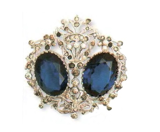 Silver Brooch. Artificial sapphires, transparent and pale yellow rhinestone. 1940s 5 cm £ 80-110 RG