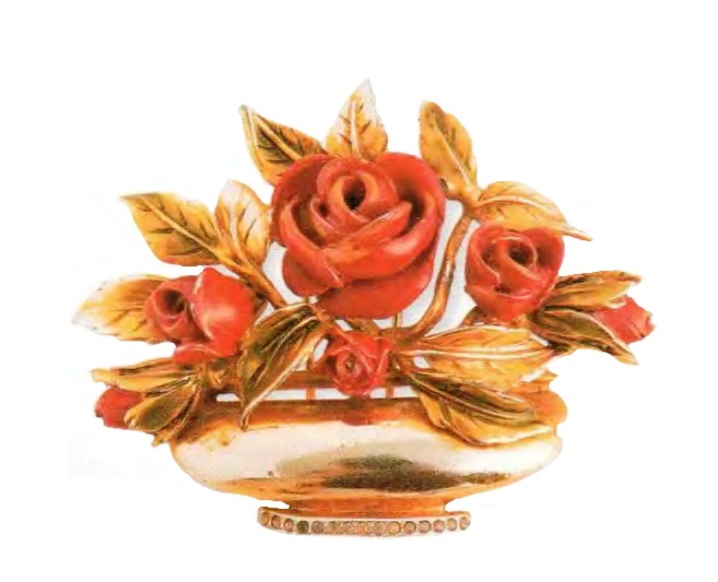 Vase with roses brooch. Gilded silver, red enamel. 1940s 5 cm £ 225-240 ROX