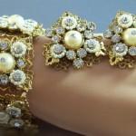 Signed Selro Filigree Rhinestone Bracelet & Clip Earrings Set