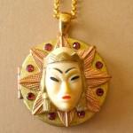 Vintage handmade Selro-Selini cabochon with Swarovski rhinestones and pearls brass locket